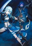 1boy 1girl arrow_(projectile) asymmetrical_clothes bangs black_gloves black_panties blue_eyes blue_hair bow_(weapon) faulds fingerless_gloves floating_hair forest gloves hair_between_eyes hair_tubes highres holding holding_arrow holding_bow_(weapon) holding_weapon leg_up looking_at_viewer midriff nature navel night official_art open_mouth panties red_eyes short_hair_with_long_locks short_shorts shorts sidelocks sinon_(solus) stomach sword_art_online sword_art_online:_alicization underwear v-shaped_eyebrows v_arms weapon white_shorts