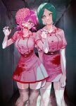 2girls 4chi belt blood blood_splatter brain breasts chainsaw_man character_request feet_out_of_frame green_eyes grey_legwear grey_sclera hands_up heart heart-shaped_pupils highres large_breasts multiple_girls open_mouth pink_hair pink_shirt pink_skirt pleated_skirt purple_nails scarf shirt short_sleeves skirt symbol-shaped_pupils thigh-highs white_legwear yellow_eyes