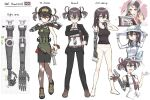 1girl axe baseball_cap brown_hair brushing_teeth character_sheet cigarette coffee_mug collarbone commentary_request cup eyebrows_visible_through_hair formal glasses gun handgun harness hat highres holding holding_gun holding_weapon holster holstered_weapon looking_at_viewer mug necktie original pant_suit panties prosthesis prosthetic_arm revolver samaru_asgl short_twintails solo suit tank_top twintails underwear union_jack weapon yellow_eyes