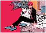 1boy aqua_footwear bangs belt black_jacket black_pants book collared_shirt grey_shirt highres jacket kk724 lamp long_sleeves original pants parted_bangs plant red_background red_belt red_eyes redhead shirt shoes short_hair socks solo striped striped_shirt tiger white_tiger