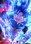 1boy arms_at_sides aura black_hair blue_shirt bracer clenched_hands closed_mouth collarbone dragon_ball dragon_ball_super full_body grey_eyes looking_at_viewer male_focus mattari_illust orange_pants rock serious shirt solo son_goku standing torn_clothes ultra_instinct v-shaped_eyebrows