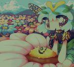 4girls antennae aqua_hair bangs blue_flower butterfly_wings cirno clouds cloudy_sky dress eternity_larva flower green_dress green_eyes green_hair hado_fun highres hill kurodani_yamame leaf leaf_on_head multiple_girls no_nose orange_flower outdoors pink_flower red_flower short_hair short_sleeves sky solo_focus touhou wings wriggle_nightbug
