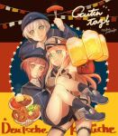 3girls alcohol beer bismarck_(kantai_collection) blonde_hair clothes_writing eating flag_background food fork french_fries german_flag german_text green_eyes hat highres hot_dog kantai_collection long_hair long_sleeves mika_pikazo military military_hat military_uniform multiple_girls plate pretzel redhead short_hair silver_hair translated uniform yellow_eyes z1_leberecht_maass_(kantai_collection) z3_max_schultz_(kantai_collection)