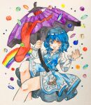 1girl blue_dress blue_eyes blue_hair blue_vest cropped_legs dress hands_up heterochromia highres holding holding_umbrella karakasa_obake key747h long_sleeves medium_hair no_nose purple_umbrella rainbow red_eyes solo tatara_kogasa tongue tongue_out touhou traditional_media umbrella vest watercolor_(medium)