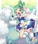 1girl ;d altaria aqua_hair arm_up armpits asymmetrical_hair bangs blue_choker blue_footwear blush_stickers breasts camisole choker collarbone commentary_request crop_top fur_trim gen_3_pokemon groin hair_ornament highres idol jewelry lisia_(pokemon) long_hair looking_at_viewer mega_altaria mega_pokemon midriff multicolored multicolored_background navel one_eye_closed one_side_up open_mouth pokemon pokemon_(creature) pokemon_(game) pokemon_oras rii_(pixiv11152329) short_shorts shorts showgirl_skirt sidelocks single_thighhigh skindentation small_breasts smile solo_focus starry_background striped striped_legwear thigh-highs v white_camisole white_shorts