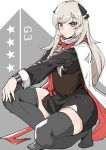 1girl absurdres black_legwear black_skirt blonde_hair character_name closed_mouth eyebrows_visible_through_hair g3_(girls_frontline) girls_frontline hair_ornament highres long_hair looking_at_viewer no_shoes rosehip_t72 scarf simple_background sitting skirt solo thigh-highs violet_eyes