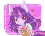 animal_ears artist_name blouse blue_blouse blush book bow commentary eyebrows_visible_through_hair eyelashes heart holding holding_book horse_ears horse_tail long_hair my_little_pony neko_baby personification purple_hair red_bow simple_background smile tail twilight_sparkle upper_body violet_eyes