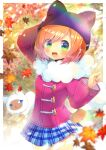 1girl :d animal animal_ears animal_hat arm_behind_head arm_up autumn_leaves bangs black_headwear blue_eyes blue_skirt blurry blurry_background blurry_foreground blush brown_hair cat character_request depth_of_field fake_animal_ears fur_collar green_eyes hat index_finger_raised jacket kouu_hiyoyo leaf long_sleeves maple_leaf open_mouth pink_jacket plaid plaid_skirt pleated_skirt pop'n_music skirt smile solo swept_bangs thigh_gap wide_sleeves