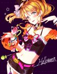 1girl :d ayase_eli bangs belt black_choker black_headwear black_skirt blonde_hair blue_eyes blush bow breasts choker collarbone cowboy_shot floating_hair garter_straps hair_between_eyes halloween hat hat_bow highres long_hair looking_at_viewer love_live! love_live!_school_idol_project medium_breasts midriff mini_hat miniskirt navel niro_(sikabanekurui) open_mouth pencil_skirt pink_belt ponytail pumpkin purple_background shiny shiny_hair skirt smile solo standing stomach very_long_hair white_bow witch_hat wrist_cuffs