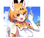 1girl animal_ears bangs blonde_hair blue_sky blurry blurry_background bow bowtie claw_pose commentary day elbow_gloves eyebrows_visible_through_hair fang fingernails gloves hair_ornament hairclip highres kemono_friends looking_at_viewer notice_lines open_mouth orange_eyes orange_neckwear orange_scarf outdoors print_gloves print_neckwear print_scarf scarf serval_(kemono_friends) serval_ears serval_print sharp_fingernails shirt short_hair sky sleeveless sleeveless_shirt smile solo takom upper_body v-shaped_eyebrows white_gloves white_shirt