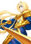 1girl alice_zuberg armor armored_dress blonde_hair blue_cape blue_dress blue_eyes braid braided_ponytail breastplate cape closed_mouth cowboy_shot dress eyepatch faulds floating_hair gauntlets hair_intakes hairband highres holding holding_sheath holding_sword holding_weapon long_hair osmanthus_blade ponytail ribbon sheath shiny shiny_hair shoulder_armor simple_background solo spaulders standing sword sword_art_online sword_art_online:_alicization very_long_hair weapon white_background white_hairband white_ribbon