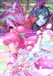 1boy 1girl ahoge blue_skin collar cure_grace daruizen dress gloves green_hair hair_ornament healin'_good_precure highres holding holding_staff horns itou_shin'ichi jacket long_hair magic open_mouth pink_eyes pink_hair ponytail precure profile rabirin_(precure) red_jacket shiny shiny_hair short_hair short_sleeves staff upper_body very_long_hair white_dress white_gloves yellow_eyes