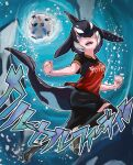 1girl air_bubble alternate_costume ball bangs bare_arms black_hair blowhole blue_eyes bubble clenched_hands clothes_writing commentary_request dolphin_tail dorsal_fin freediving full_body hair_over_one_eye head_fins highres kemono_friends kneehighs looking_at_viewer medium_hair multicolored_hair open_mouth orca_(kemono_friends) parted_bangs shirt shoes short_sleeves shorts smile soccer_ball soccer_uniform solo sound_effects sportswear t-shirt tail toriny two-tone_hair underwater water white_hair