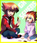 2boys :d bangs black_shirt blonde_hair blue_pants border brown_eyes brown_hair card child duel_academy_uniform_(yu-gi-oh!_gx) green_eyes hair_between_eyes holding holding_card hood hooded_sweater indian_style jacket kneeling long_sleeves medium_hair multicolored_hair multiple_boys open_clothes open_jacket open_mouth oudou_yuga outside_border pants red_jacket shiny shiny_hair shirt sitting sk816 smile sweater two-tone_hair white_sweater yellow_border younger yu-gi-oh! yu-gi-oh!_gx yu-gi-oh!_sevens yuuki_juudai