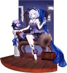 1girl arizona_(blue_oath) arizona_(ebony_flower)_(blue_oath) armchair artist_request black_choker blue_hair blue_oath bow bowtie breasts chair choker crown_hair_ornament cup dress drinking_glass earrings elbow_gloves eyebrows_visible_through_hair flower gloves hair_flower hair_ornament hair_ribbon highres holding holding_cup jewelry legs long_hair looking_at_viewer necklace official_art purple_dress ribbon shoes sitting solo violet_eyes white_footwear white_gloves wine_glass
