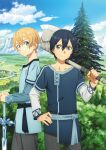 2boys axe bangs black_hair blonde_hair blue_eyes blue_rose_sword blue_shirt blue_sky cedar_tree closed_mouth clouds collarbone cowboy_shot day eugeo green_eyes grey_pants hair_between_eyes hand_on_hip hands_on_hilt highres holding holding_axe kirito long_sleeves looking_at_viewer male_focus multiple_boys official_art outdoors over_shoulder pants shiny shiny_hair shirt short_hair short_over_long_sleeves short_sleeves sky smile sword_art_online sword_art_online:_alicization weapon weapon_over_shoulder