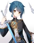 1boy a.a_(aa772) bangs black_jacket black_pants blue_hair brown_eyes center_frills closed_mouth commentary_request eyebrows_visible_through_hair frills genshin_impact gradient gradient_background grey_background hair_flaps hand_up holding holding_sword holding_weapon jacket long_sleeves looking_at_viewer male_focus pants shirt solo sword weapon white_background white_shirt wide_sleeves xingqiu_(genshin_impact)