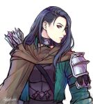 1girl adelnath armor arrow_(projectile) black_armor black_hair brown_cape cape choker closed_mouth commentary english_commentary fire_emblem fire_emblem:_three_houses from_side green_jacket hair_between_eyes jacket lips long_hair long_sleeves looking_at_viewer older open_clothes open_jacket profile quiver shamir_nevrand shoulder_armor signature simple_background solo violet_eyes white_background