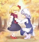 2girls ankle_boots apron arm_up autumn autumn_leaves black_skirt black_vest blonde_hair blue_eyes blue_hair blue_skirt blue_vest blurry blurry_background blush boots calcmis_gowa closed_eyes commentary_request day eyebrows_visible_through_hair forest from_side hair_ribbon hat highres letty_whiterock long_sleeves looking_at_another mary_janes mob_cap multiple_girls nature outdoors petticoat purple_footwear red_footwear red_scarf ribbon rumia scarf shirt shoes short_hair sideways_mouth skirt smile squatting standing touhou tree vest waist_apron white_headwear white_legwear white_shirt
