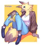 1girl animal_nose artist_name blush book boots breasts character_name character_request commentary_request denim doubutsu_no_mori furry highres holding holding_book jeans looking_at_viewer medium_breasts pants signature sitting smile snout socks solo suigi tail white_legwear yellow_fur