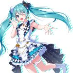 1girl :d absurdres aqua_hair arm_up armpit_peek bangs blue_eyes boots bow buttons chain checkered dress earrings eyebrows_visible_through_hair frilled_dress frills gold_chain hair_between_eyes hair_ornament hatsune_miku highres jewelry long_hair one_eye_closed open_mouth outstretched_arm outstretched_hand pochimaru_(marumaru_wanwan) project_sekai sidelocks simple_background smile solo standing standing_on_one_leg thigh_strap twintails very_long_hair vocaloid white_background white_bow white_dress white_footwear