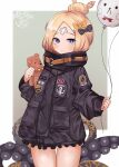 1girl abigail_williams_(fate/grand_order) balloon bandaid bandaid_on_forehead bangs black_bow black_jacket blonde_hair blue_eyes blush bow breasts cla_(finesoda) crossed_bandaids fate/grand_order fate_(series) forehead hair_bow hair_bun heroic_spirit_traveling_outfit high_collar highres jacket long_hair long_sleeves looking_at_viewer multiple_bows open_mouth orange_belt orange_bow parted_bangs polka_dot polka_dot_bow sleeves_past_fingers sleeves_past_wrists small_breasts stuffed_animal stuffed_toy teddy_bear tentacles thighs