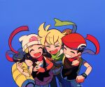1girl 2boys arm_around_shoulder artist_name bag barry_(pokemon) beanie blonde_hair blue_background blue_pants blush chueog clenched_teeth closed_eyes commentary dawn_(pokemon) duffel_bag green_scarf hat highres lucas_(pokemon) multiple_boys open_mouth pants pokemon pokemon_(game) pokemon_dppt red_headwear red_scarf scarf smile teeth tongue watermark white_headwear yellow_bag