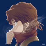 1girl blue_background blue_eyes brown_hair from_side haibara_ai highres long_sleeves meitantei_conan portrait profile red_scarf scarf scarf_over_mouth short_hair signature simple_background solo sooma4869