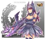 1girl alatreon_(armor) armor armored_boots armored_dress bare_shoulders boots bowgun breasts cleavage_cutout clothing_cutout collar collarbone edwin_(cyberdark_impacts) eyebrows_visible_through_hair gauntlets headdress highres long_hair medium_breasts monster_hunter monster_hunter_4_g pout purple_hair sidelocks solo thigh-highs violet_eyes weapon zettai_ryouiki