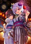 2girls aerial_fireworks bag bagged_fish bangs black_hair blue_eyes blurry blurry_background blush candy_apple cotton_candy eyebrows_visible_through_hair festival fireworks fish flower food goldfish hair_between_eyes hair_flower hair_ornament hatachi heterochromia highres japanese_clothes kimono looking_at_viewer mask mask_on_head multiple_girls obi open_mouth original purple_hair sash short_hair yukata