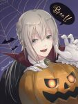 1boy bangs bat black_cloak braid character_request claw_pose cloak fangs fate/grand_order fate_(series) gloves hair_between_eyes halloween highres jack-o'-lantern long_hair male_focus noraillust pumpkin purple_background sidelocks signature silk silver_hair solo speech_bubble spider_web starry_background upper_body white_gloves