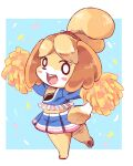 1girl :d animal_ears animal_nose blonde_hair blush_stickers cheerleader commentary_request dog dog_ears dog_girl dog_tail doubutsu_no_mori full_body furry happy highres hnzk_aroma looking_at_viewer medium_hair open_mouth pawpads pom_poms shizue_(doubutsu_no_mori) simple_background smile solo standing standing_on_one_leg tail topknot white_background white_fur yellow_fur yellow_pom_poms
