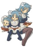 3girls :o age_comparison alternate_hairstyle apron baby bangs black_legwear blue_dress blue_eyes blue_hair blue_legwear book breasts child closed_mouth covering_mouth dot_nose dress eyebrows_visible_through_hair frilled_apron frilled_hat frills from_side full_body hat holding holding_book invisible_chair juliet_sleeves kasuga_(kasuga39) legs_together long_hair long_sleeves looking_at_viewer looking_down looking_to_the_side maid medium_breasts multiple_girls multiple_persona no_shoes oekaki older open_book open_mouth pacifier pantyhose puffy_sleeves puzzle_piece reading sitting tareme transparent_background twintails upside-down_book waist_apron white_apron white_headwear wikipe-tan wikipedia younger