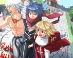 2girls 3boys 6+others abs ahoge armor assassin_cross_(ragnarok_online) bangs belt black_belt black_cape black_hair black_legwear black_pants blonde_hair blue_eyes blue_hair blurry breasts cape closed_mouth clouds commentary_request cowboy_shot cross cross_necklace day depth_of_field dress eyebrows_visible_through_hair eyes_visible_through_hair fisheye flame_print full_body garter_straps green_eyes hair_between_eyes high_priest_(ragnarok_online) house jewelry juliet_sleeves long_sleeves looking_to_the_side medium_breasts medium_hair multiple_boys multiple_girls multiple_others muscle natsuya_(kuttuki) necklace open_mouth outdoors pants path pauldrons puffy_sleeves ragnarok_online red_dress red_eyes red_scarf scarf shiny shiny_hair shirtless shopping short_hair shoulder_armor shura_(ragnarok_online) skull sky smile stall standing thigh-highs town tree two-tone_dress upper_teeth waist_cape walking white_dress white_hair white_legwear white_pants whitesmith_(ragnarok_online)