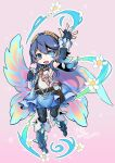 1girl blue_eyes blue_hair butterfly_wings chibi fire_emblem fire_emblem_awakening fire_emblem_heroes glowing glowing_eye looking_at_viewer lucina_(fire_emblem) open_hand open_mouth ryoto_soukyuu solo wings