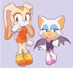 2girls :d animal_ears animal_nose bat bat_ears bat_girl bat_wings blue_background blue_eyes blush boots breasts bunny_tail commentary_request cream_the_rabbit dress eyelashes eyeshadow fang flat_chest full_body furry gloves highres large_breasts looking_to_the_side makeup multiple_girls older open_mouth orange_dress orange_eyes pigeon-toed rabbit rabbit_ears rabbit_girl robot_(pixiv_42325944) rouge_the_bat simple_background smile sonic_the_hedgehog standing tail white_fur white_gloves white_hair wings younger