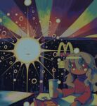1girl absurdres chicken_nuggets cup drinking_straw grey_hair hado_fun hair_between_eyes highres holding holding_cup long_hair long_sleeves mcdonald's no_nose original red_shirt shirt solo sun surreal upper_body