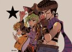 1girl 2boys :o belt belt_buckle black_coat black_headwear blonde_hair blue_eyes breasts buckle closed_mouth coat cosplay dio_brando dio_brando_(cosplay) ear_piercing fingerless_gloves giorno_giovanna gloves green_eyes green_lipstick grin hat higashikata_jousuke hrtw136 jacket jojo_no_kimyou_na_bouken jojo_pose joseph_joestar_(young) joseph_joestar_(young)_(cosplay) kuujou_jolyne kuujou_joutarou kuujou_joutarou_(cosplay) lips lipstick makeup multiple_boys one_eye_closed pants piercing pompadour pose purple_shirt school_uniform shirt sleeveless sleeveless_shirt smile star_(symbol) yellow_jacket