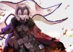1girl absurdres ahoge armor armored_dress between_breasts black_dress breasts chain dress fate/grand_order fate_(series) headpiece highres jeanne_d'arc_(alter)_(fate) jeanne_d'arc_(fate)_(all) long_hair looking_at_viewer medium_breasts same_(sendai623) silver_hair solo vambraces very_long_hair yellow_eyes