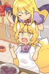 2girls ^_^ adapted_costume animal_ear_fluff animal_ears arm_on_head arm_rest arm_support bands blonde_hair bow cabinet closed_eyes closed_mouth commentary_request cupboard cutting_board dress eating eyebrows_visible_through_hair eyes facing_down fang food food_request food_theft fox_ears fox_tail gap_(touhou) hands_up head_scarf highres holding holding_food indoors kitchen kitsune long_hair looking_at_another looking_up motion_lines multiple_girls multiple_tails neck_ribbon no_headwear open_mouth pastry plate pmx puffy_short_sleeves puffy_sleeves purple_dress red_bow red_neckwear red_ribbon ribbon short_hair short_sleeves sidelocks smile surprised sweatdrop tail theft tile_floor tiles touhou upper_body v-shaped_eyebrows white_dress white_headwear yakumo_ran yakumo_yukari yellow_eyes younger