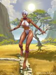 1girl abs africa anklet armlet barefoot bikini bracelet capcom choker dark_skin elena_(street_fighter) game grass gunshiprevolution highres jewelry mountain muscle necklace official_art outstretched_arms path savannah short_hair spread_arms standing standing_on_one_leg stone street_fighter sun swimsuit tall_female tiptoes tree white_hair