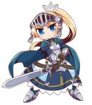 1girl armor armored_boots armored_dress bangs black_gloves blonde_hair blue_cape blue_dress blue_eyes blush boots breastplate cape chibi closed_mouth commentary_request dress eyebrows_visible_through_hair feathers forte_(rune_factory) full_body gloves hair_feathers high_ponytail highres holding holding_sword holding_weapon juliet_sleeves long_hair long_sleeves looking_at_viewer naga_u parted_bangs ponytail puffy_sleeves rune_factory rune_factory_4 simple_background solo standing sword v-shaped_eyebrows vambraces very_long_hair visor_(armor) weapon white_background white_feathers