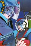 1980s_(style) 1boy 1girl aerial_battle athena_henderson battle chiram choujikuu_seiki_orguss cockpit control_stick dogfight duel emaan fake_screenshot father_and_daughter fingerless_gloves gloves helmet highres insignia katsuragi_kei looking_at_another mecha military military_uniform nikick official_style orguss orguss_(mecha) pilot_chair pilot_suit retro_artstyle scan science_fiction serious spoilers sticker traditional_media uniform visor
