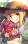 1girl artoria_pendragon_(all) basket blonde_hair blue_neckwear blue_ribbon boa_(brianoa) braid casual closed_mouth eyebrows_visible_through_hair fate/stay_night fate_(series) flower flower_basket french_braid green_eyes hair_between_eyes hair_ribbon hat highres holding leaf looking_at_viewer object_hug outdoors pink_flower plant red_flower red_rose ribbon rose saber shirt short_hair smile solo sun_hat twitter_username white_shirt yellow_flower