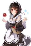1girl :o absurdres apple apron bangs basket black_bow black_ribbon blush bow breasts brown_dress brown_hair cat chomusuke collar commentary_request cosplay detached_collar detached_sleeves dress eyebrows_visible_through_hair flat_chest food frilled_collar frilled_dress frilled_sleeves frills fruit hair_ornament hair_ribbon hands_up highres holding kono_subarashii_sekai_ni_shukufuku_wo! long_sleeves looking_at_viewer maid maid_apron maid_headdress megumin neck_ribbon open_mouth pink_ribbon red_apple red_eyes rem_(re:zero) rem_(re:zero)_(cosplay) ribbon roswaal_mansion_maid_uniform short_hair simple_background white_apron white_background white_bow wide_sleeves x_hair_ornament yuno_(suke_yuno)