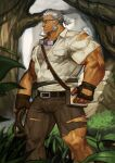 1boy abs absurdres bara blue_eyes brown_gloves brown_pants bulge chest chest_hair facial_hair gloves goatee goggles goggles_around_neck grey_hair highres live_a_hero male_focus marfik_(live_a_hero) muscle old_man pants shirt short_hair sideburns solo stubble thick_thighs thighs tied_hair torn_clothes torn_pants torn_shirt traver009