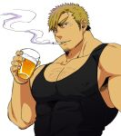 1boy bara black_tank_top blonde_hair chest chest_hair cigarette covered_abs covered_nipples cup drinking_glass ezaki_papiko facial_hair highres male_focus muscle original purple_hair short_hair smoke smoking solo stubble tank_top upper_body white_background