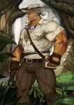 1boy absurdres bara blue_eyes brown_gloves brown_pants bulge chest chest_hair facial_hair gloves goatee goggles goggles_around_neck grey_hair highres live_a_hero male_focus marfik_(live_a_hero) muscle old_man pants short_hair sideburns solo thick_thighs thighs tied_hair traver009 white_headwear