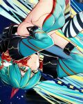 1girl alternate_costume aqua_eyes aqua_hair aqua_leotard aqua_sleeves bangs bare_shoulders blonde_hair blush breasts chain cluseller commentary_request cropped crying detached_sleeves eyebrows_visible_through_hair hair_between_eyes hands_up hatsune_miku headgear highres long_hair looking_at_viewer medium_breasts multicolored multicolored_clothes multicolored_hair multicolored_legwear ribs shiny shiny_clothes sideboob solo space star_(sky) streaked_hair striped striped_legwear tears thigh-highs tied_hair twintails upper_body upside-down very_long_hair vocaloid