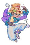 1boy alternate_costume aqua_eyes arm_up black_hair bread bulzizzang cheese cup drinking_glass facial_hair fingerless_gloves food food_on_head full_body gloves hat highres jacket jojo_no_kimyou_na_bouken leaf long_sleeves meat mustache object_on_head pants phantom_blood purple_jacket purple_nails salt_shaker sandwich shirt shoes short_hair simple_background solo white_background white_pants will_anthonio_zeppeli wine_glass yellow_shirt